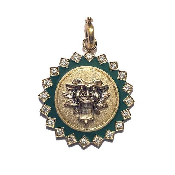 14K Gold Diamond & Green Enamel Guardian Lion Mabel Medallion