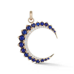 14K Gold Diamond & Lapis Crescent Moon Estelle Charm