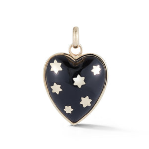 14K Gold & Black Onyx Anna Heart Charm