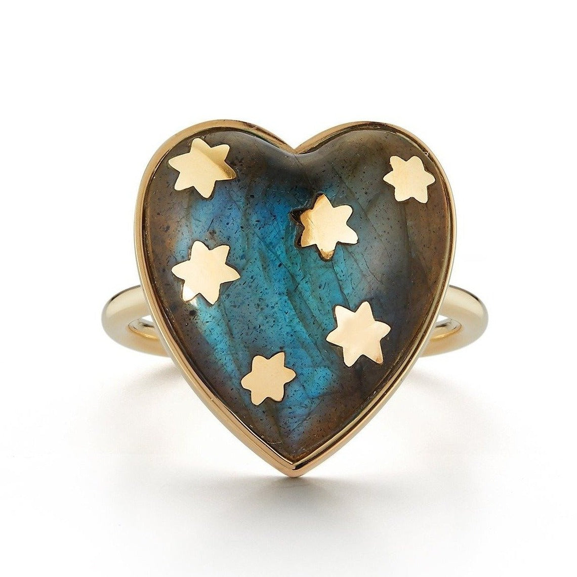 14K Gold Labradorite Anna Heart Ring
