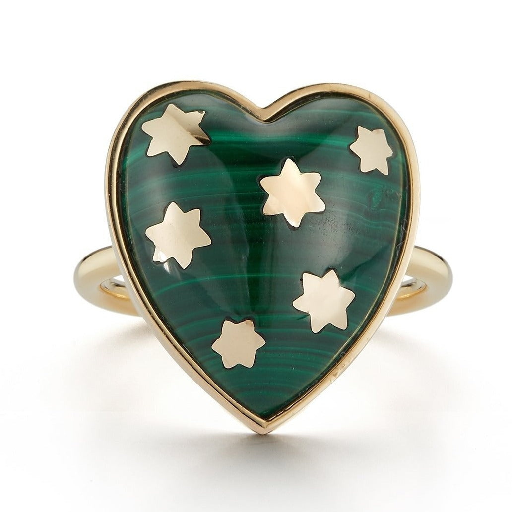 14K Gold Malachite Anna Heart Ring