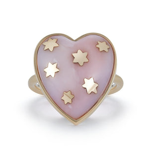 14K Gold Pink Opal Anna Heart Ring