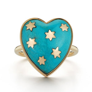 14K Gold Turquoise Anna Heart Ring