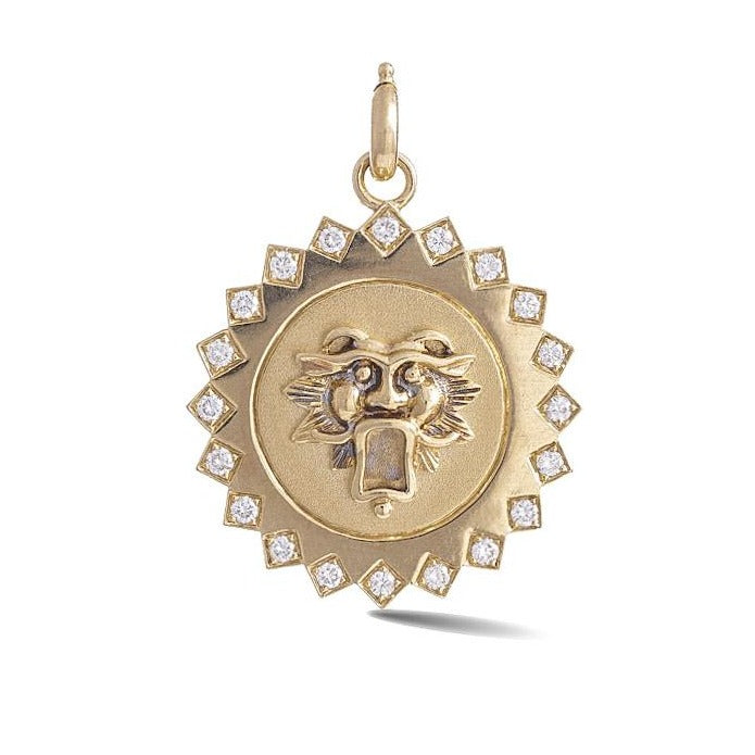 14K Gold Diamond Guardian Lion Mabel Medallion
