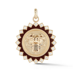 14K Gold Diamond & Red Enamel Guardian Lion Mabel Medallion