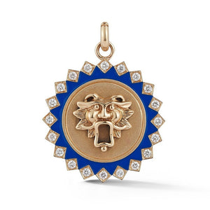 14K Gold Diamond & Blue Enamel Guardian Lion Mabel Medallion