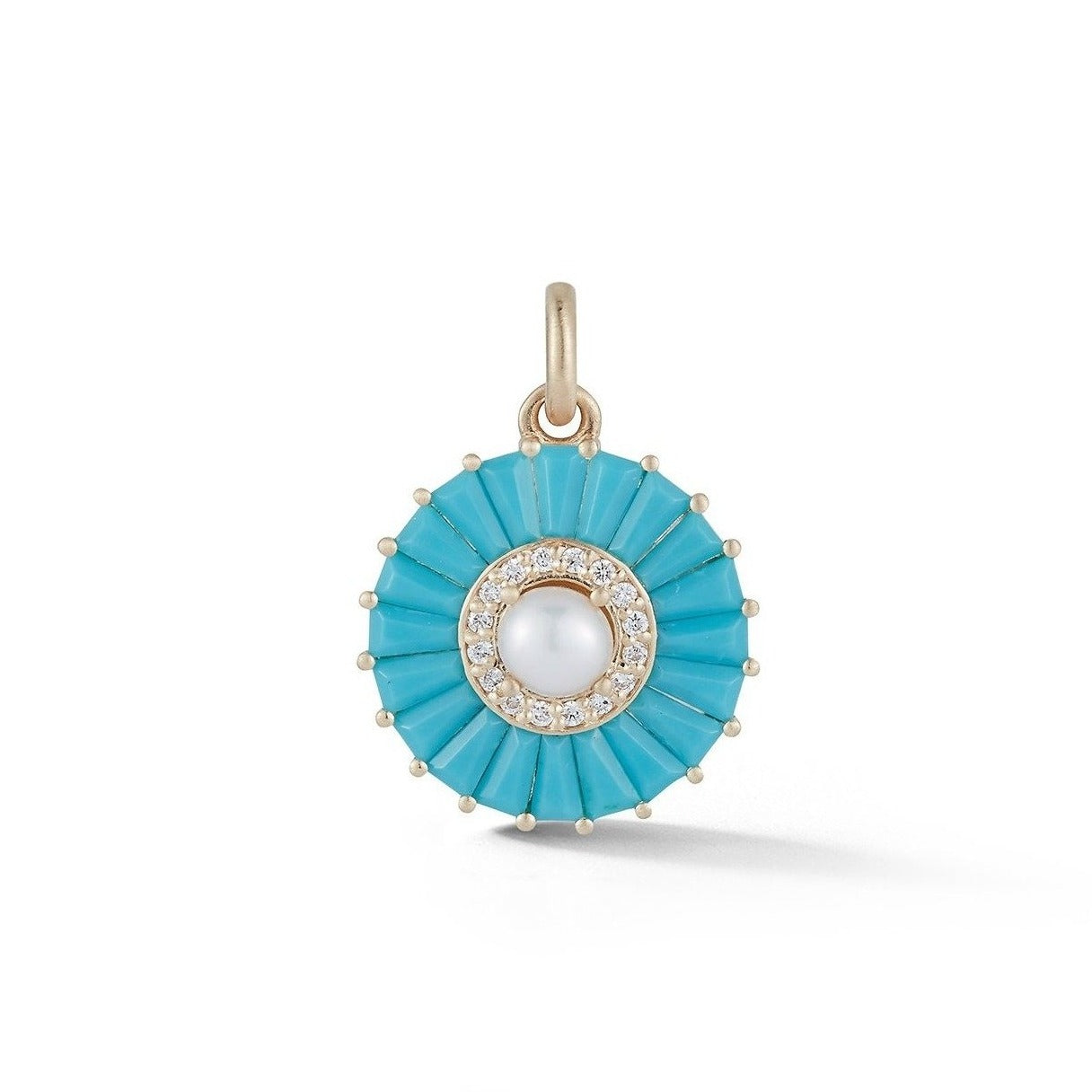 14K Gold Turquoise Diamond & Pearl Emily Charm