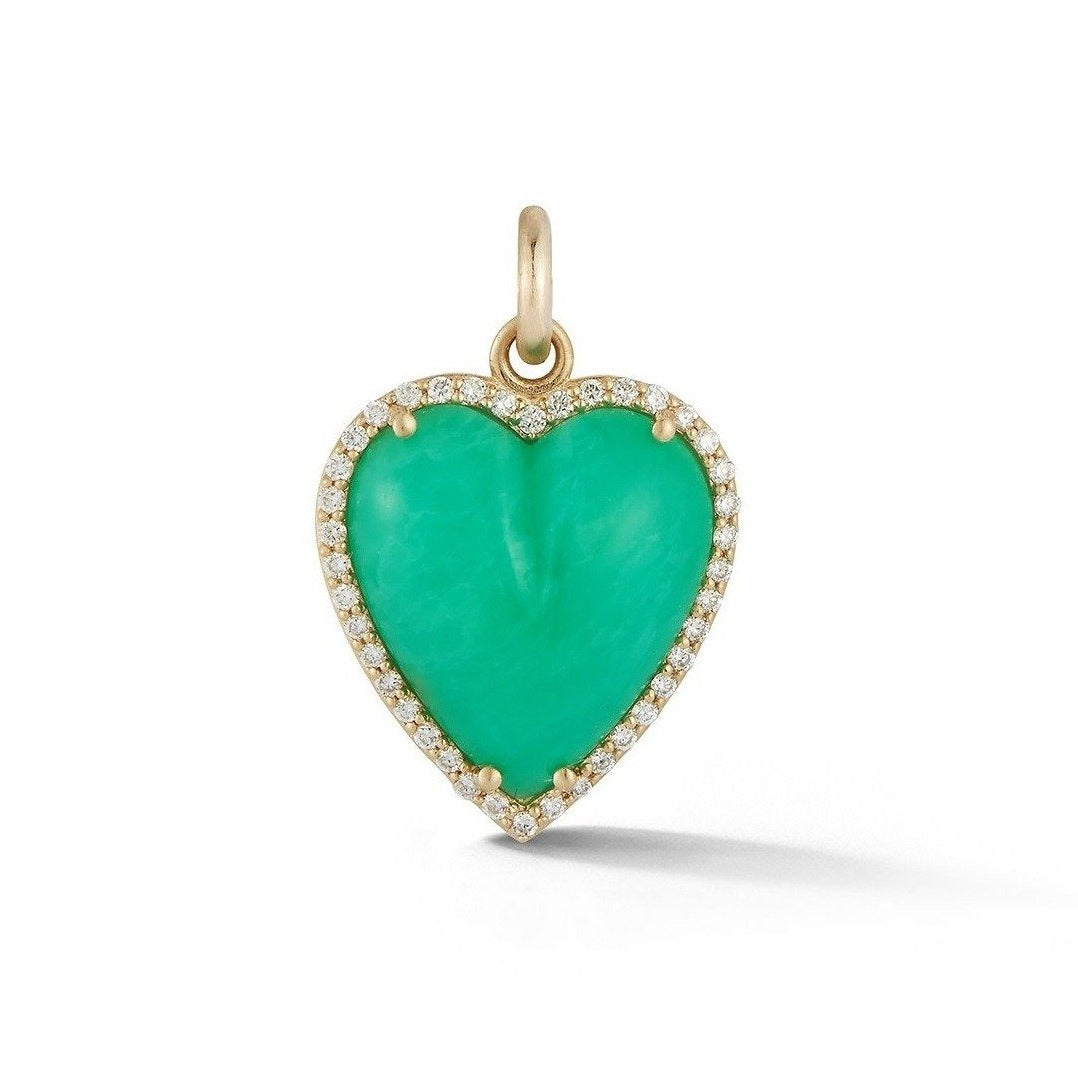 14K Gold Diamond & Chrysoprase Alana Large Heart Charm