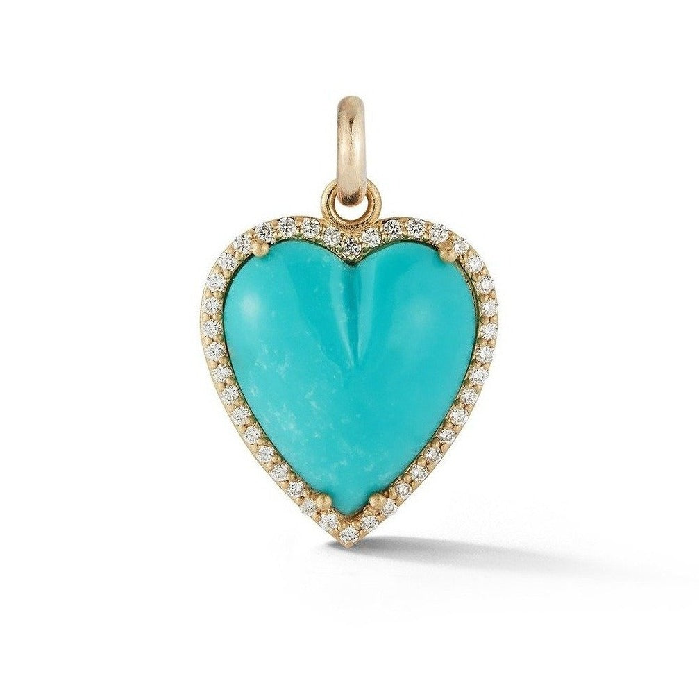 14K Gold Diamond & Turquoise Alana Large Heart Charm