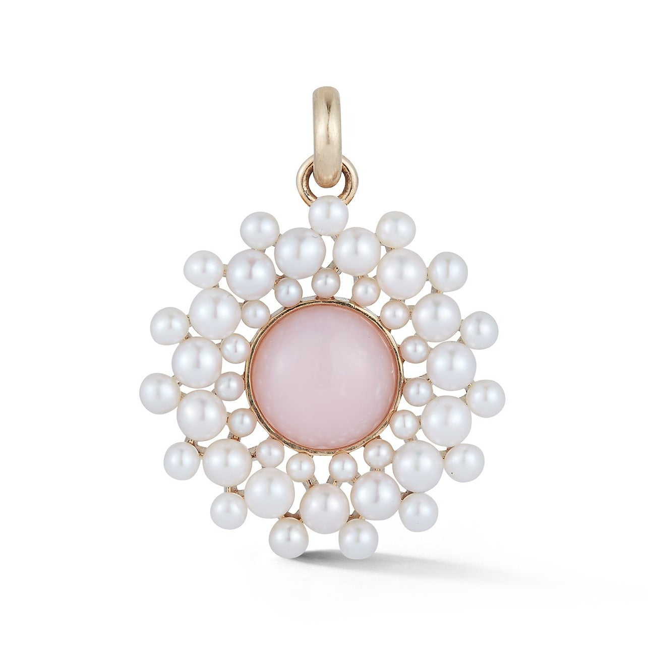 14K Gold Pink Opal & Pearl Cluster Juliet Charm