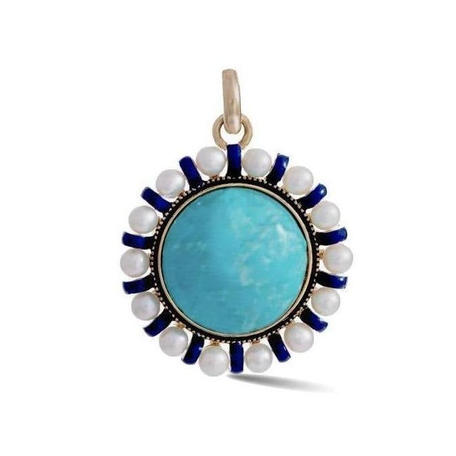 14K Gold Turquoise Pearl & Enamel Libby Charm