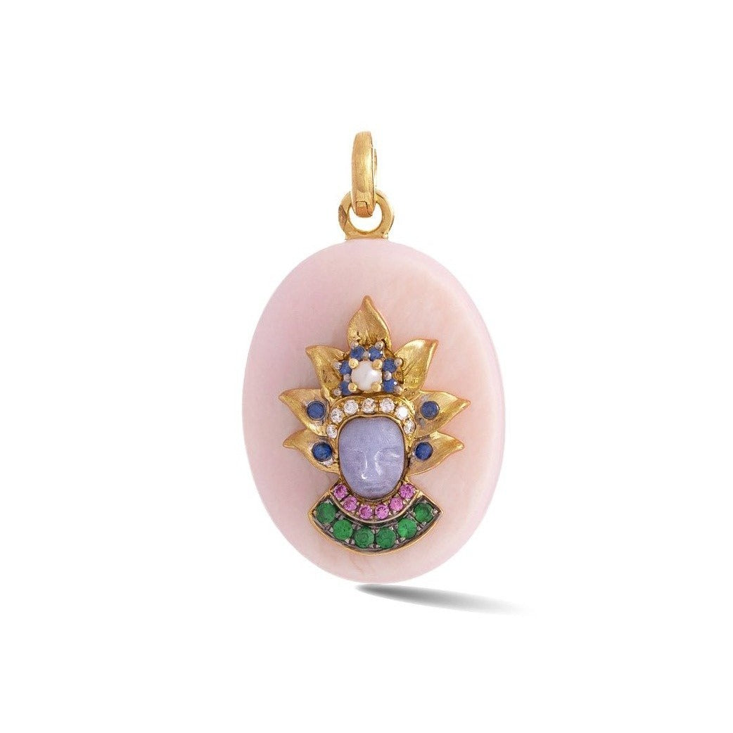 14K Gold Pink Opal & Gemstone Queen Christina Charm