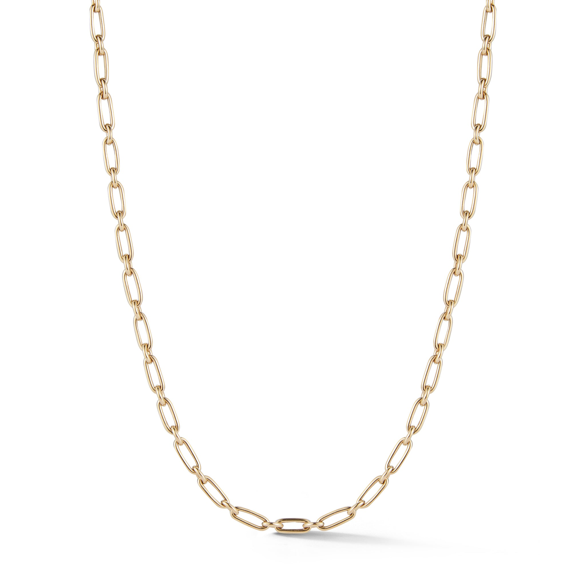 "14K Gold Heavy Alternating Elongated Link Handmade 18"" Oscar Chain"