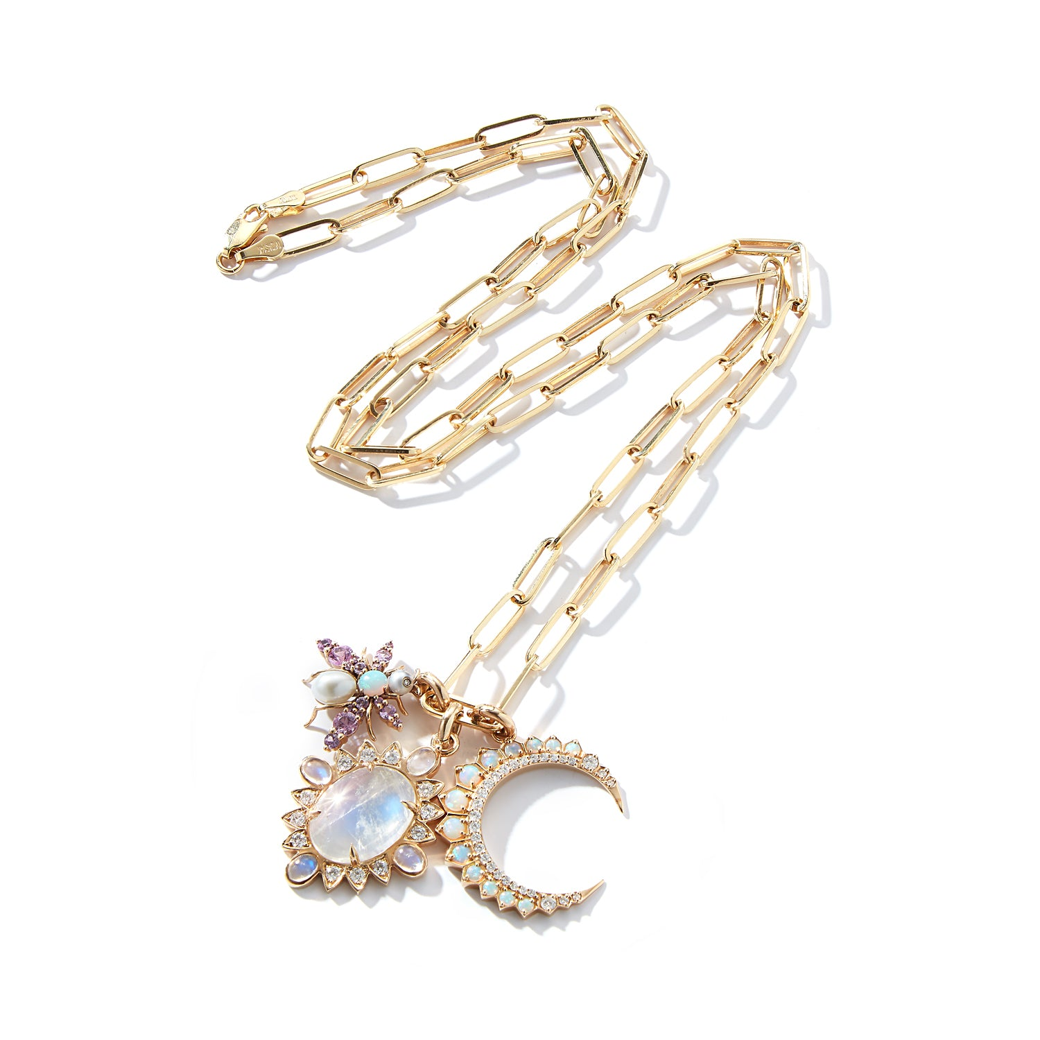 14K Gold Rainbow Moonstone & Diamond Nora Charm