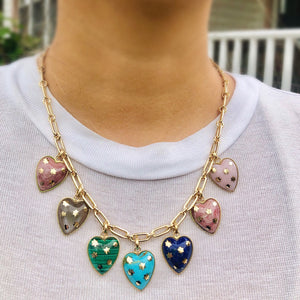 14K Gold & Malachite Anna Heart Charm