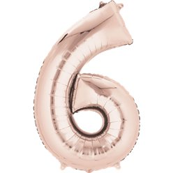 Rose Gold Number 6 Balloon