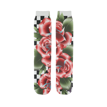 Load image into Gallery viewer, Roses And Checkers Tube Socks | HUSTLECANVASES