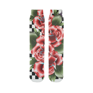 Roses And Checkers Tube Socks | HUSTLECANVASES