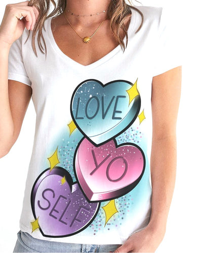 Tattoo art clothing apparel tee tshirt v-neck womens shirt love spread love love your self