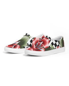 Classic slip on canvas shoe rose traditional tattoo neotraditional print design