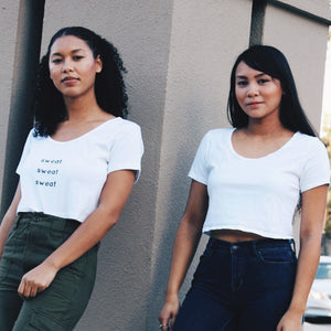Customized apparel two girls in crop tops