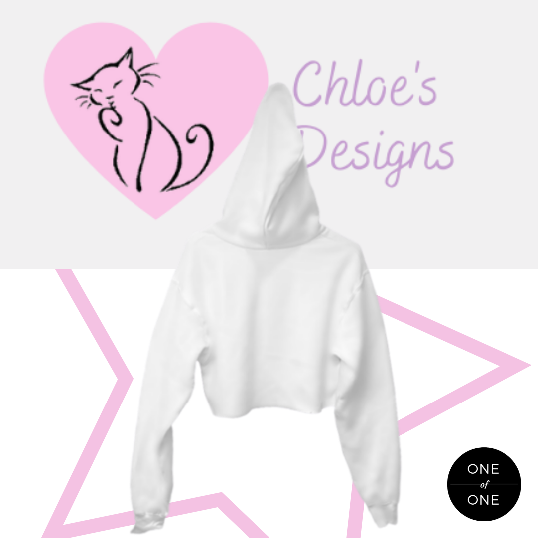 White Crazy Cat Woman Crop Hoodie