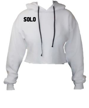 Solo Dolo White Cropped Hoodie