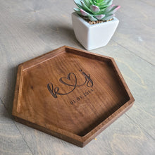 Load image into Gallery viewer, Custom Wood Catch All Tray, Anniversary Gift, Walnut Tray