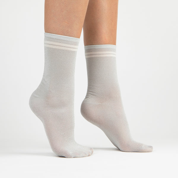 Lurex Kids Crew Sock | Silver