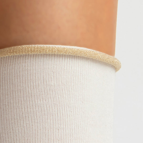Cashmere Crew Sock | Winter White with Gold Trim