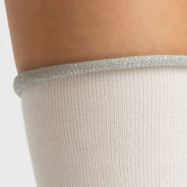 Cashmere Crew Sock | Winter White with Silver Trim