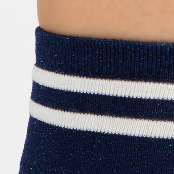 Metallic Lurex Ankle Sock | Navy