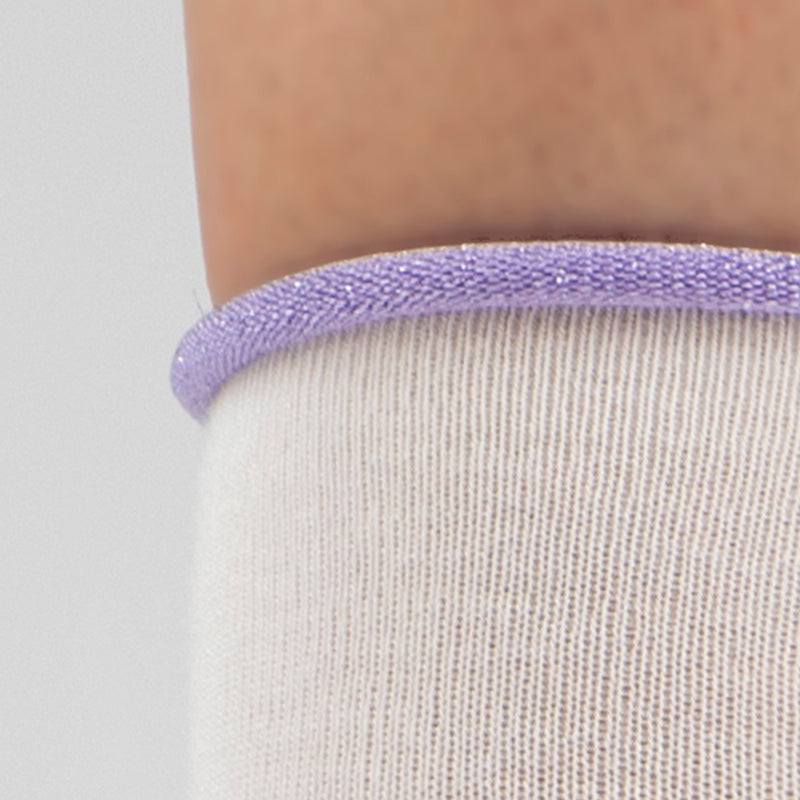Cashmere Crew Sock | Winter White with Purple Trim