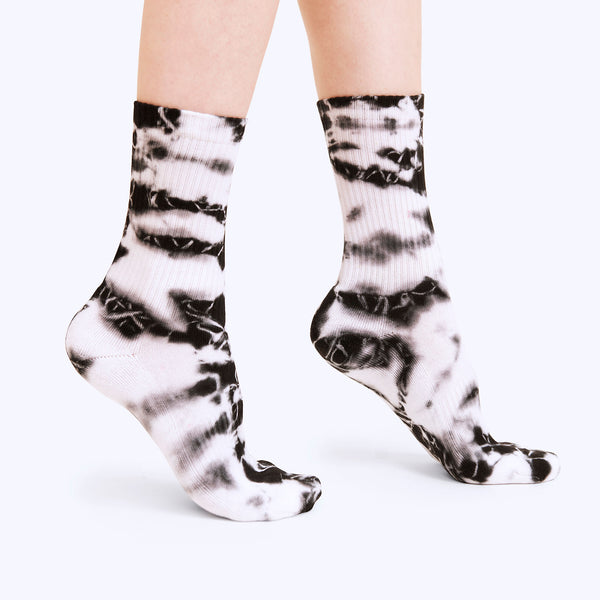 Ribbed Crew Sock | Black Tie Dye