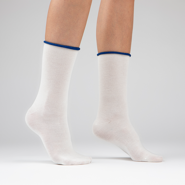 Cashmere Crew Sock | Winter White with Navy Trim