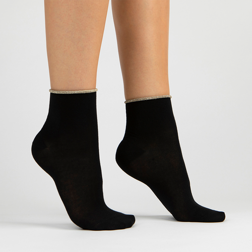 Sparkle Trim Lurex Ankle Sock | Black