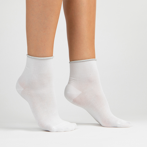 Sparkle Trim Lurex Ankle Sock | White