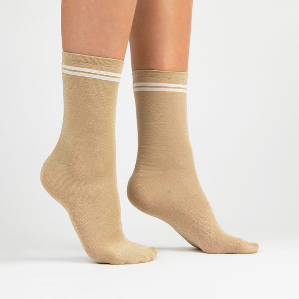 Metallic Lurex Crew Sock | Gold