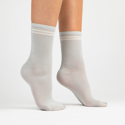 Metallic Lurex Crew Sock | Silver