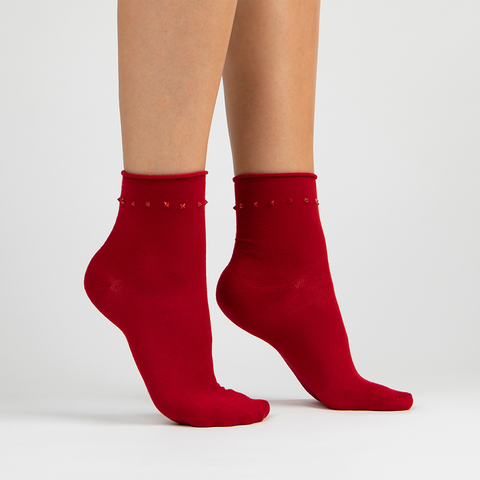 Stud Ankle Sock | Red