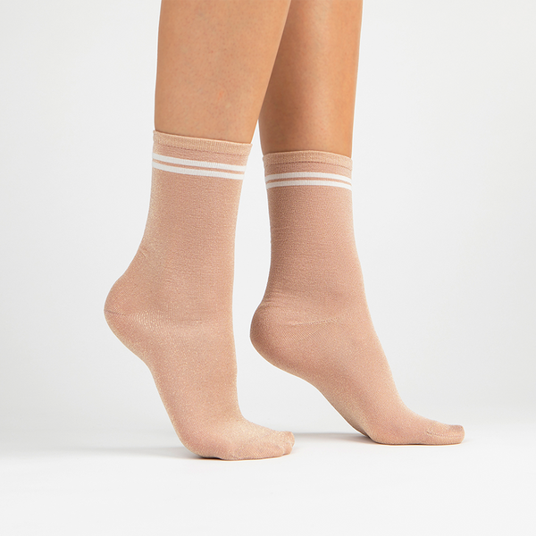 Metallic Lurex Crew Sock | Rose Gold