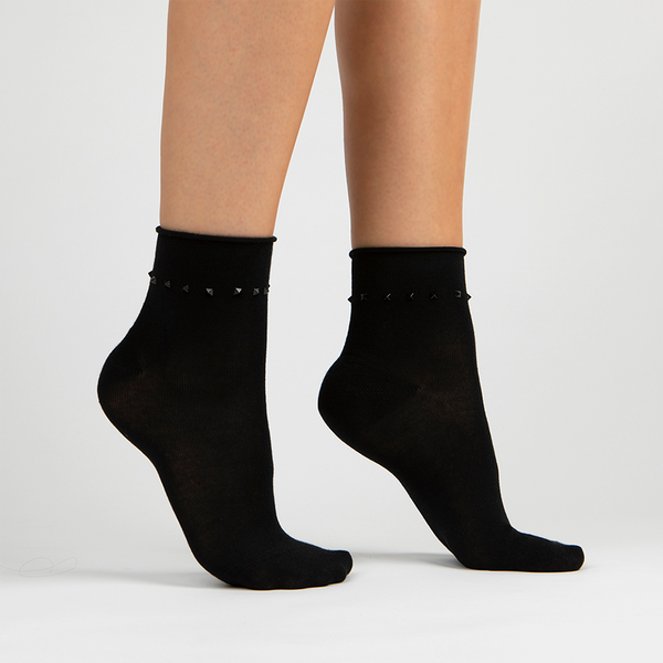 Stud Ankle Sock | Black With Black Studs