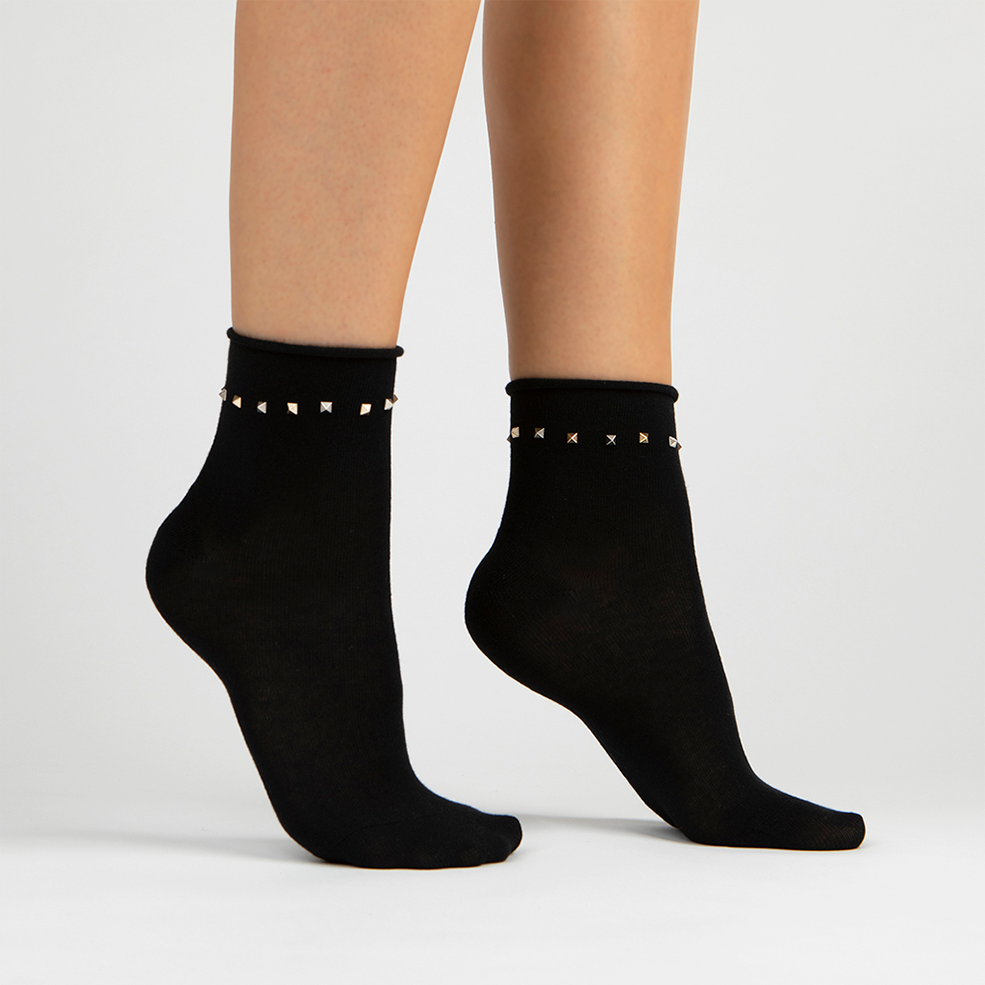 Stud Ankle Sock | Black With Silver & Gold Studs