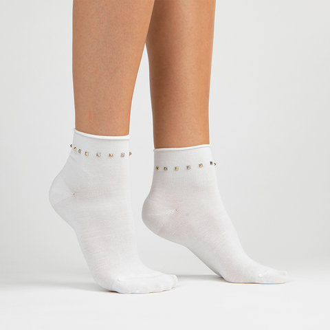 Stud Ankle Sock | White