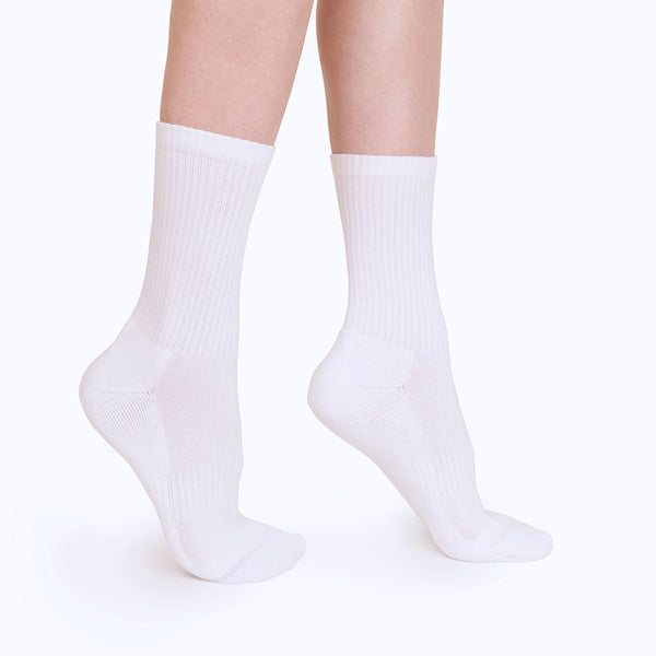 Ribbed Crew Sock | White