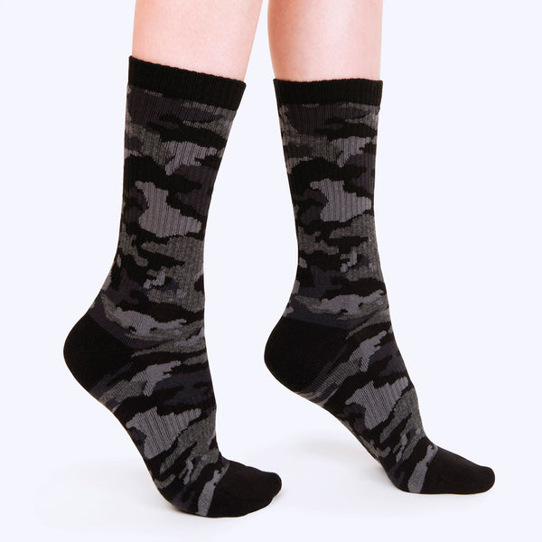 Ribbed Crew Sock | Black Camo