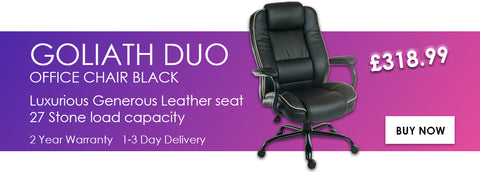 Goliath Duo Heavy Duty Leather Office Chair. 27 stone capacity