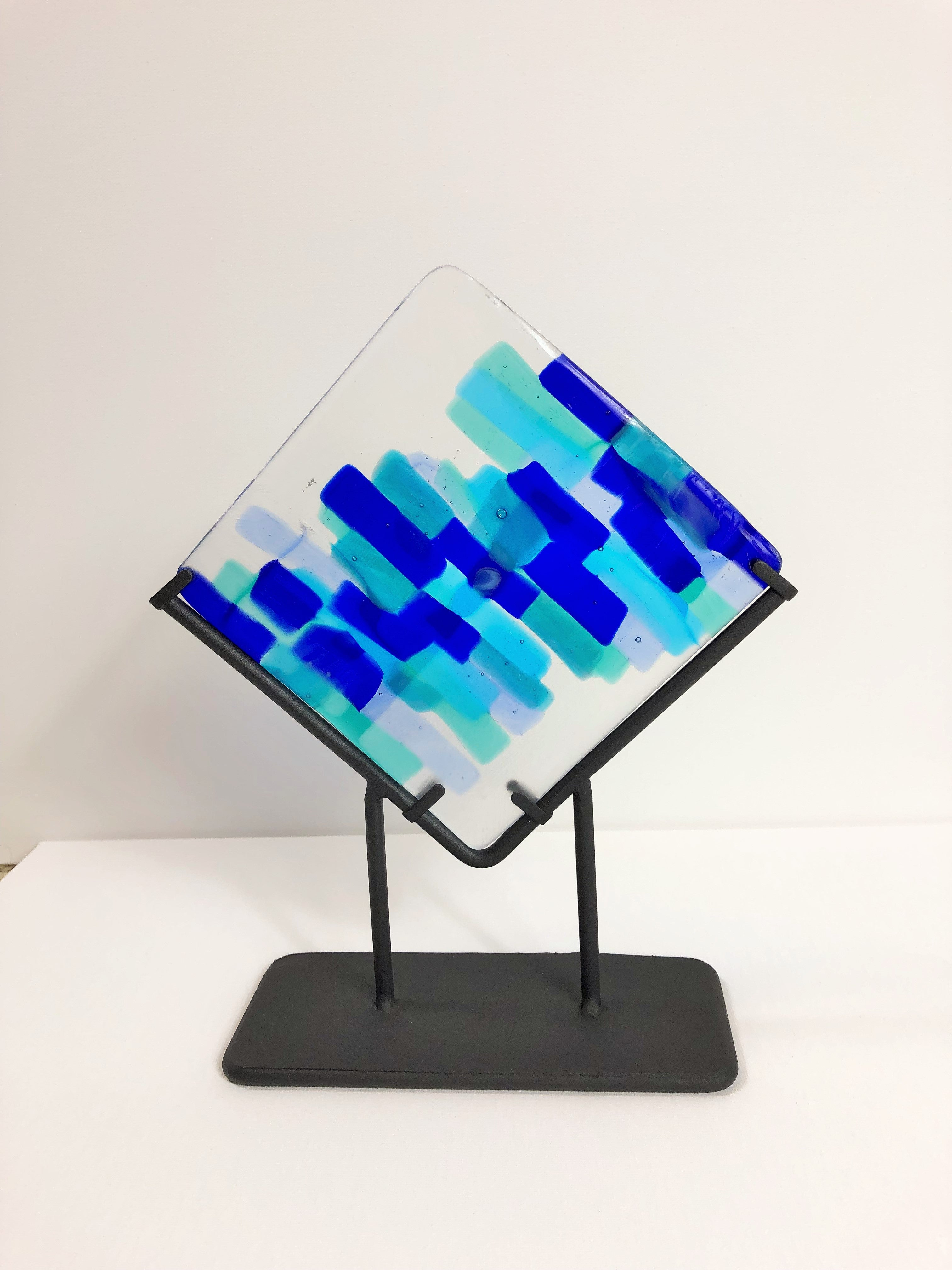 Blue Art Glass with Display, Artistically Recycled Glass