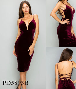 VELVET PLUNGING OPEN BACK LACE UP DRESS