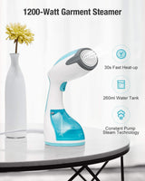 BEAUTURAL Steamer for Clothes with Pump Steam Technology, Portable Handheld Garment Fabric Wrinkles Remover, 30s Fast Heat-up, Auto-Off, Large Detachable Water Tank
